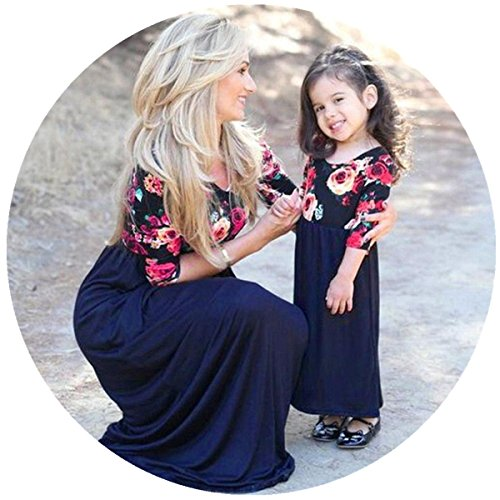 Sunward Mother and Daughter Floral Print Stitching Dress Casual Long Maxi Beach Dress,Parent-Child, (Mom, M) by Sunward