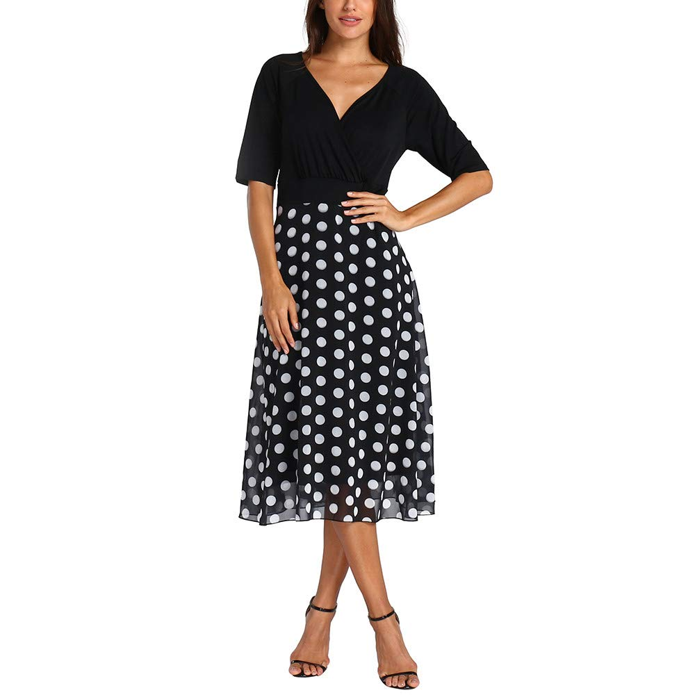 Women Plus Size Patchwork Midi Dress Sexy V-Neck Dot 3/4 Sleeve Boho 3/4 Sleeve Dress Black