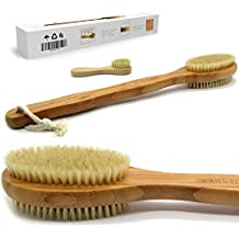 "Bath & Relax Bamboo Bath Brush Long 17"" Handle Back Body Scrubber For shower dry / Wet Skin brushing Suitable for men / women"