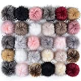 Coopay 30 Pieces Faux Fox Fur Pom Pom Balls DIY Fur Fluffy Pom Pom with Elastic Loop for Hats Keychains Scarves Gloves Bags Charms Knitting Accessories (Popular Mix Colors): more info