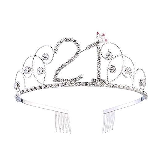 Aprilfun Tiara de Cristal cumpleaños Corona Princesa Corona ...