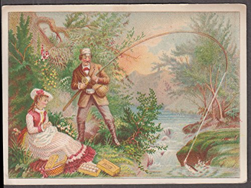 - J & P Coats Spool Cotton Thread Calendar trade card 1880 fishing & sewing