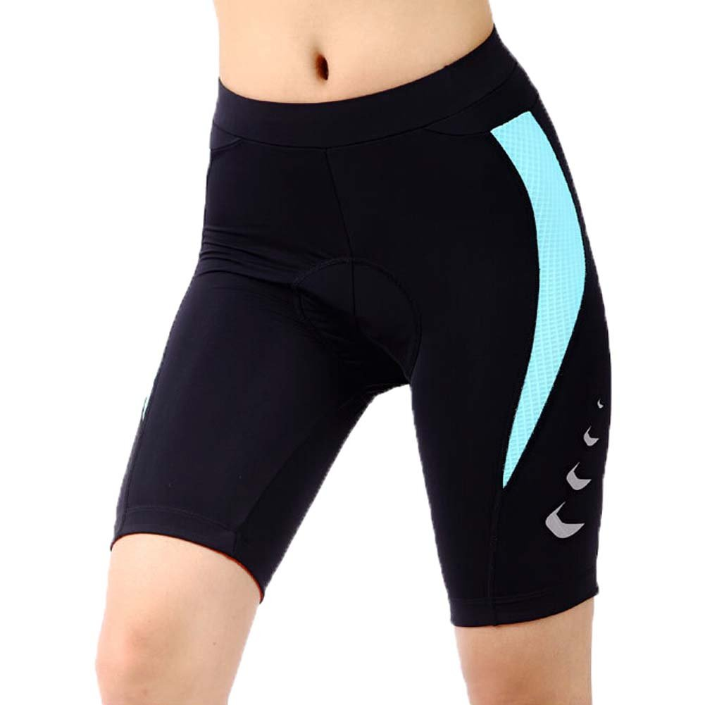 Women's Print Gel 3-D Padded Cycling Biking Short, Waist 23-28 Inch, Black/Blue PANDA SUPERSTORE PS-SPO2371086011-JACKY00769