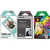 Pack Filmes instantâneo Fujifilm: 10 Monochrome, 10 bordas coloridas e 10 bordas azuis
