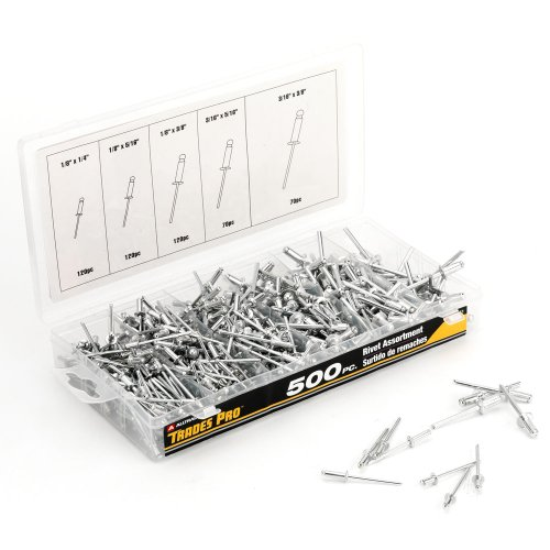 Assorted Rivets - Tradespro 836341 Aluminum Rivet Assortment, 500-Piece, Multiple Sizes