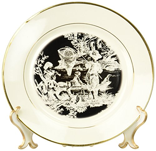 Toile Porcelain Plate (3dRose cp_28350_1 French Toile-Porcelain Plate, 8-Inch)
