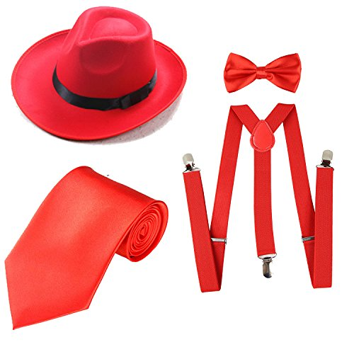 Satin Bow Fedora (1920s Mens Costume Accessory Set - Manhattan Fedora Hat, Suspenders Y-Back Elastic Trouser Braces,Pre Tied Bow Tie,Gangster Tie (Onesize, Red))
