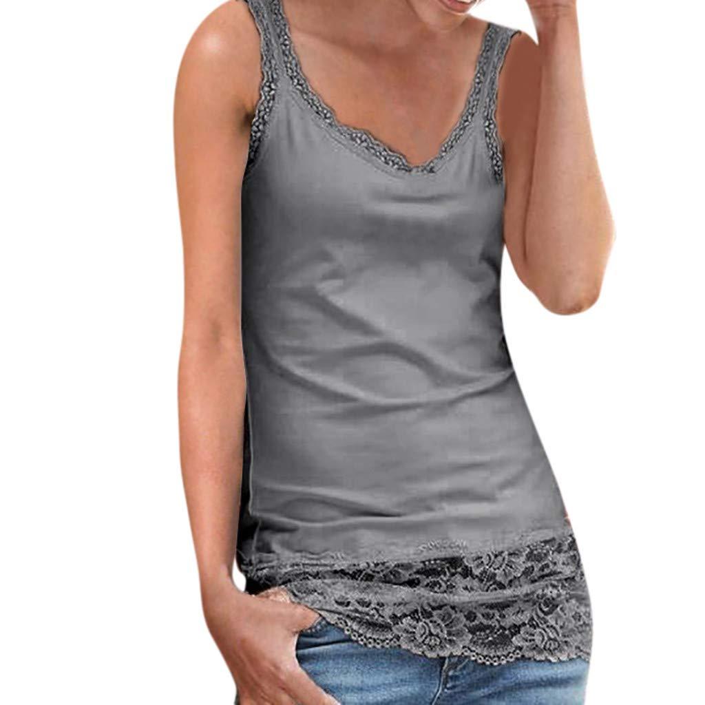 Sunhusing Ladies Lace Stitching Sleeveless Vest with Lace Trim Hem Embellished Beach Tank Top Shirt Gray
