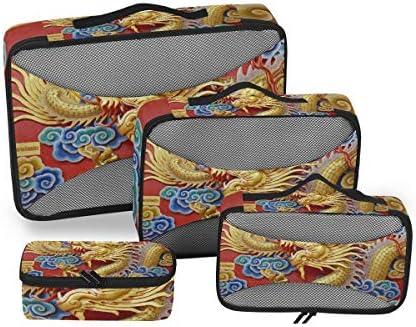 ゴールデンレッドドラゴンアート荷物パッキングキューブオーガナイザートイレタリーランドリーストレージバッグポーチパックキューブ4さまざまなサイズセットトラベルキッズレディース