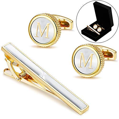 LOLIAS Mens Cufflinks Tie Bar Clip Set Alphabet Letter Cufflinks Formal Business Wedding Shirts Gift Box,M (Anniversary Stainless Steel Cufflinks)