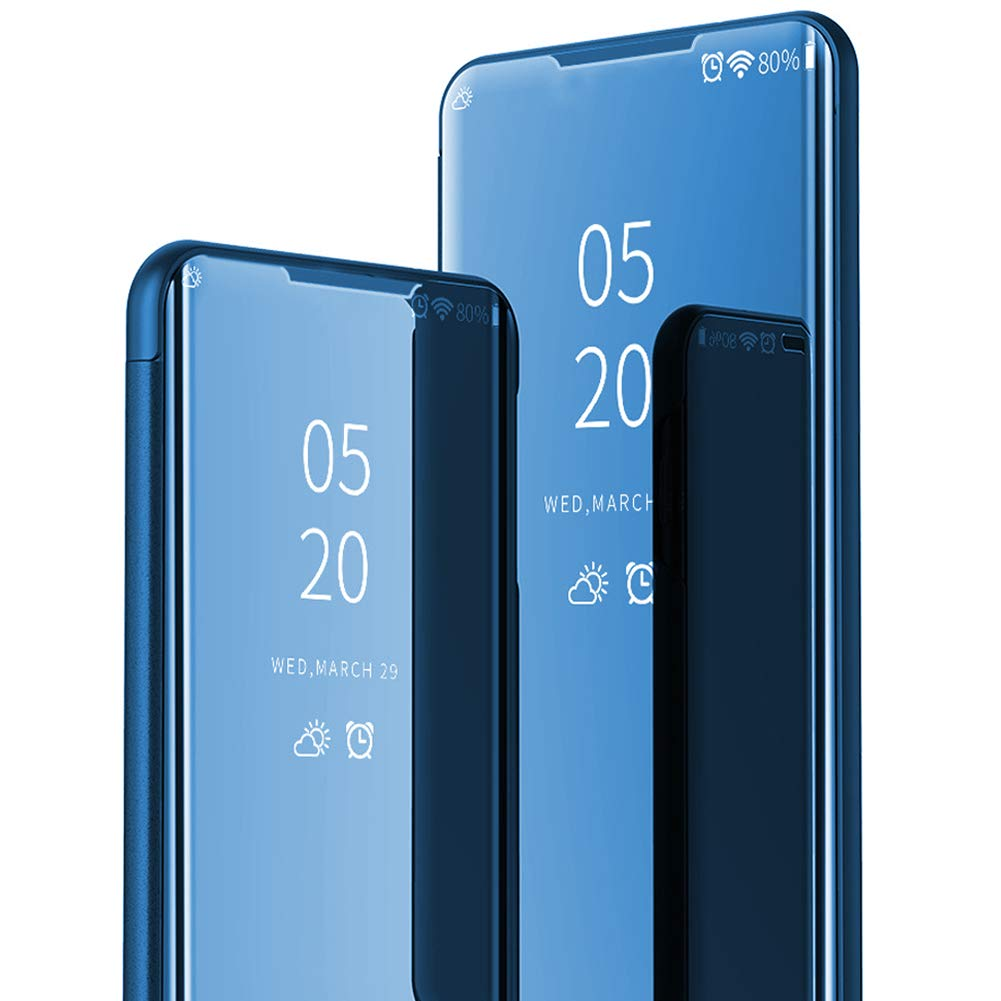 ikasus Case for Galaxy Note 10 Plus Cover,Luxury Shiny Slim Multi-Function Mirror Makeup Case Stand Flip Folio Full-Body 360 Coverage Protective Case Cover for Galaxy Note 10 Plus Mirror Case,Blue by ikasus