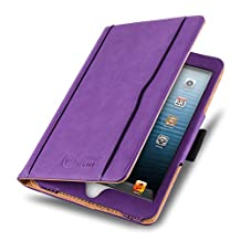 iPad Mini 4, 3, 2, and 1st Generation Case, JAMMYLIZARD The Original Purple & Tan Leather Smart Cover