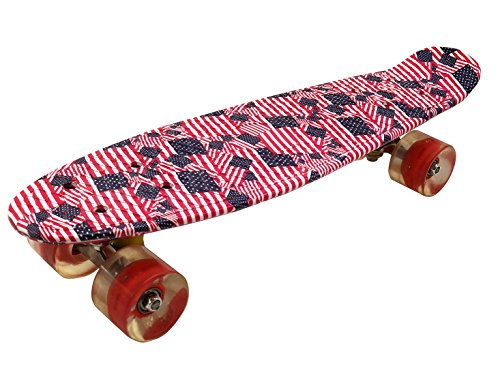 - KINSPORY 22'' x 6'' Completed Skateboards with Friction LED Lights PU Wheels for Beginners (Pink)