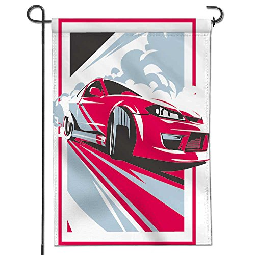 Tuning Cars Turbo (SCOCICI1588 Celebrate Patriotic Garden FLagburnout car japanese drift sport car jdm racing team turbocharger tuning vector illustration Decorative Double Sided Flag for Anniversary Decor 12