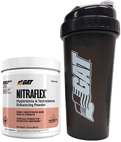 GAT Clinically Tested Nitraflex, Testosterone Enhancing Pre Workout 300 g (30 servings) with BONUS GAT Shaker Bottle (Watermelon)