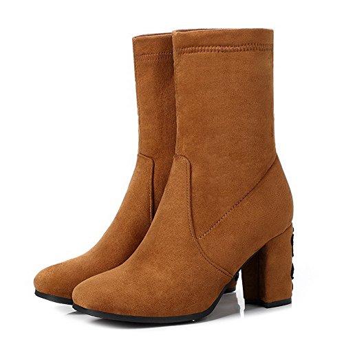 Solid Orange On AgooLar Heels Women's Toe Boots High Materials Pull Square Blend 7g1nq5wgF