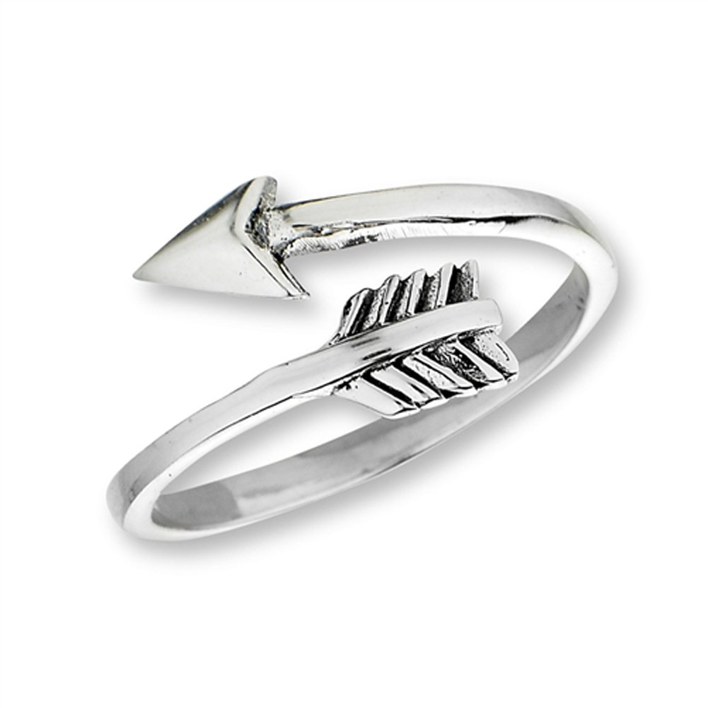 Open Shooting Arrow Thumb Ring New .925 Sterling Silver Band Size 8
