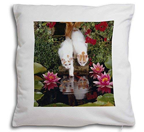 (Pattebom Turkish Van Cats by Fish Pond Throw Pillow Covers 18 x 18 Decorative,Dog Pillow Covers,Farmhouse Decor Pillow,Dog Lovers Gifts Pillow Case)