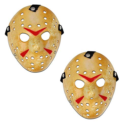 Orgrimmar Costume Jason Mask Cosplay Halloween Masquerade Party Horror Mask 2 Pcs (Yellow)]()