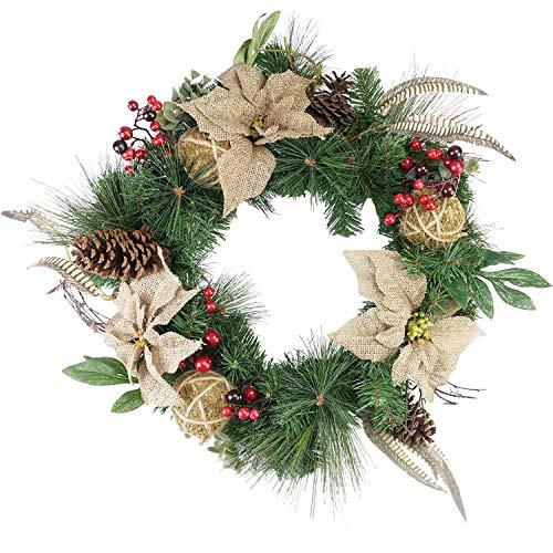 "Northlight Unlit Autumn Harvest Burlap Poinsettia Moss Ball Mixed Pine and Berries Fall Wreath, 24"""