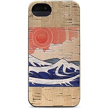 Wood iPhone SE | 5 | 5s Case - Izu Cork Wood Case by Reveal Shop - Natural Cork Wood Design (Japanese Print Cork)