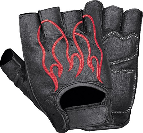 (Ted and Jack - Soaring Flame Embroidered Motorcycle Fingerless Leather Glove with Red Flames in XL)