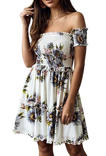 KIRUNDO Women's 2019 Summer Off Shoulder High Waist Floral Printed Beach Mini Shift Dress (Small, White)