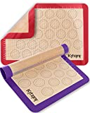 Silicone Baking Mats Set of 2 - Two Half Non Stick Sheet Mat - Large BPA Free Professional Grade Liner Sheets - Perfect Bakeware for Making Cookies, Macarons, Bread and Pastry