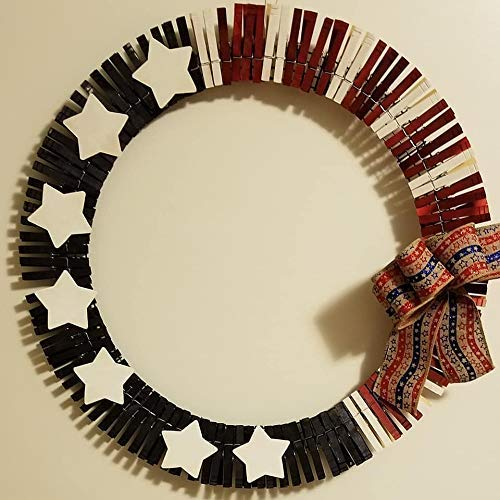 (Patriotic 4th of July Clothespin Wreath )