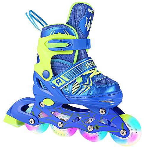 (ANCHEER Kid Inline Skates Adjustable Size 1-8 Girls/Boys Grow Kids Roller Skates Smooth Flashing Wheels Teens Women Fit Outdoor Skating Training Fast Speed)
