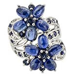 Authentic-RARE-Natural-Blue-Kyanite-Double-Floral-Flower-Ring-925-Silver-Size-7