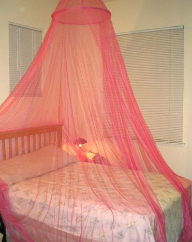 Hoop Bed Canopy Mosquito Net for Crib, Twin, Full, Queen or King Size Bed and Travel Outdoor Events (Red) (Red Bed Canopy Netting)