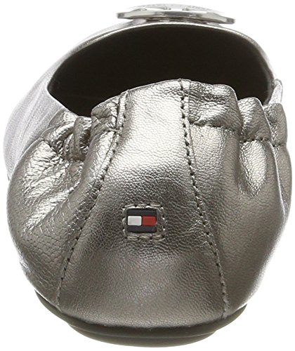 Tommy Hilfiger Ladies A1285ppleton 15z Chiuso Ballerine Argento (argento Scuro)