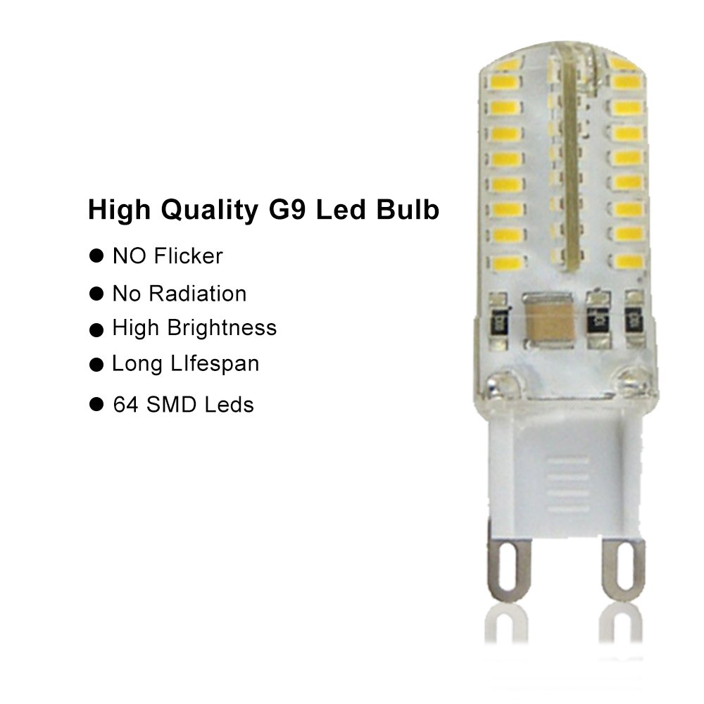 300Lumen Equivalent to 30W Halogen Bulb 5 Pack SMD 3014 AC 110V Warm White Modoao G9 LED Bulb 64 LEDs Corn Lamp Light Bulb Daylight Bulb for Home Use Cool White 3.5W Not Dimmable