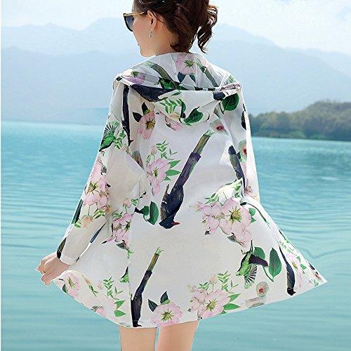 QFFL fangshaifu ロングセクション女性の印刷日保護服/夏のフード付きスリム屋外日焼け止めショール/通気性の抗UVファッションカーディガン(2色可能) (色 : A, サイズ さいず : Xl xl)