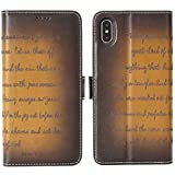 iPhone XS MAX Leather Case - iPulse Bible Verse Series Vegetable Tanned Full Grain Leather Flip Wallet Case for Apple iPhone XS MAX with Magnetic Closure - Retro Cognac