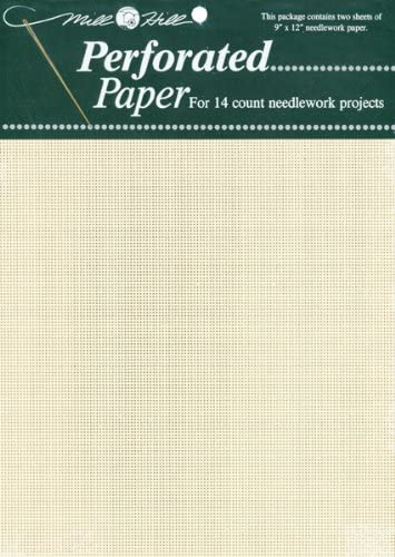 """Antique Brown Mill Hill Perforated Paper 14 Count 9/"""" x 12/"""" 2//Pkg"""