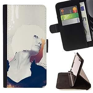 BullDog Case - FOR/LG OPTIMUS L90 / - / portrait white hair woman profile sexy art /- Monedero de cuero de la PU Llevar cubierta de la caja con el ID Credit Card Slots Flip funda de cuer