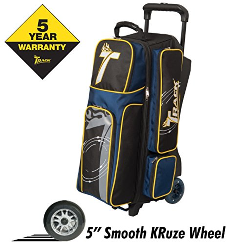 Track Bowling Premium Player Triple Ball Bowling Bag, Black/Navy/Yellow by Track Bowling