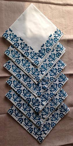 New Blue Cotton Napkins - Suvinyas New Hotels Luxury Napkin Hand Block Print Comfortable Napkins Pack Set of 6 Color Blue and White Block Print 100% Organic Cotton with Absorbency of Water Size - 18 x 18 Inch