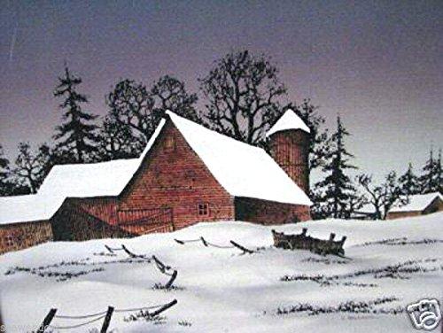 Snow Covered Barn by Hargrove; Rare Winter Scene