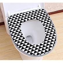Toilet Cushions Warm Toilet Fender Paste PU Waterproof Seat Pad Cover Universal Cushions,Black-OneSize