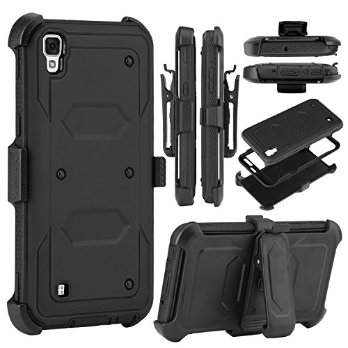 LG Tribute HD Case, LG X Style Case, Venoro Heavy Duty Shockproof Full Body Protection Rugged Hybrid Case Cover with Belt Clip Holster and Kickstand for LG X Style / Volt 3 / LS 676 (Black)
