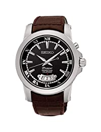 Seiko Men's Premier Perpetual 41.5mm Brown Leather Band Steel Case Quartz Black Dial Analog Watch SNQ149