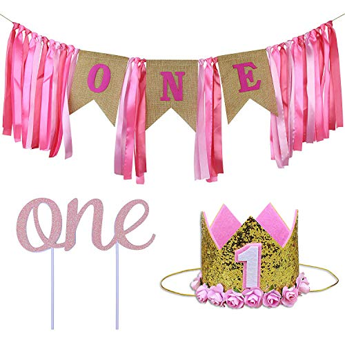 (ZITA ELEMENT 1st Birthday Decorations for Baby Girl | Quality Baby Shower Decorations - Cake Topper One, Princess Tiara Crown, ONE Banner | Kids First Birthday Party Supplies, Pink)