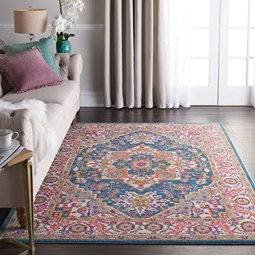 (Nourison PSN20 Passion Persian Colorful Teal Multicolor Area Rug 5'3