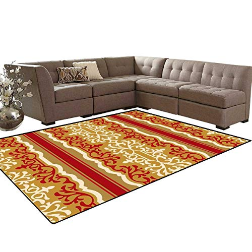 Arabesque Door Mats Area Rug Middle Eastern Swirl Floral Ornament Branches Motif Oriental Artwork Anti-Skid Area Rugs 6'x9' Ruby Pale Coffee Cream