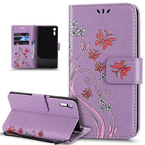 Price comparison product image Sony Xperia XZ Case,Sony Xperia XZs Case,ikasus Colorful Embossing Butterfly Flower Premium PU Leather Flip Wallet Stand Credit Card ID Holders Protective Case Cover for Sony Xperia XZ / XZs,Purple