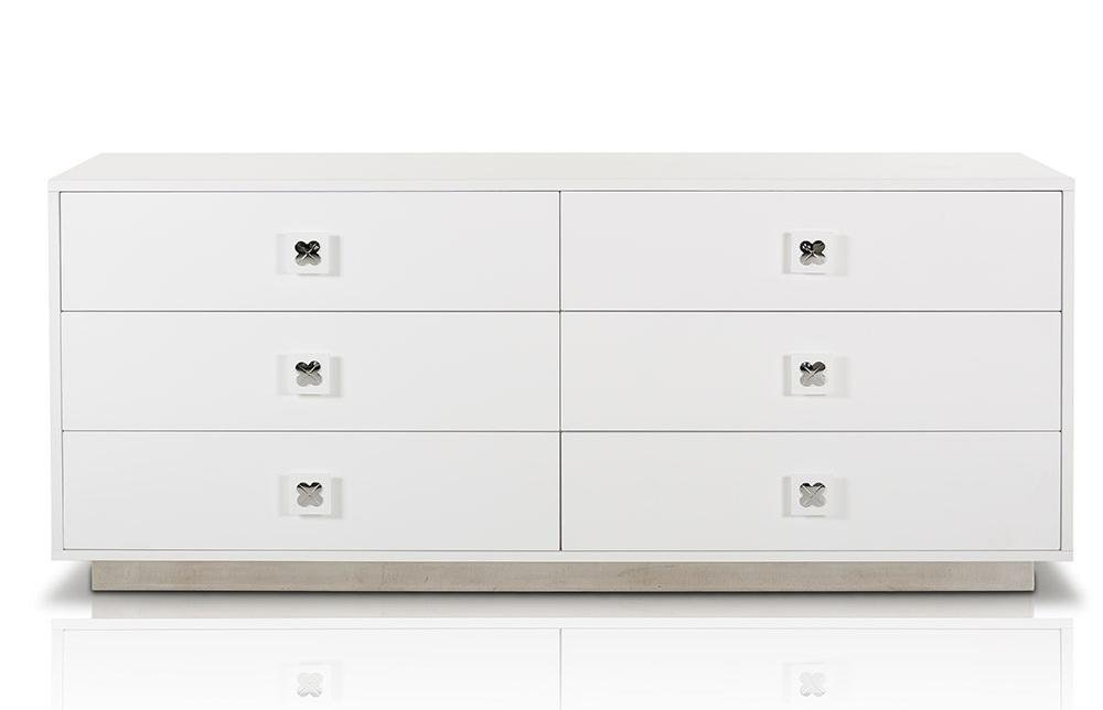 VIG Furniture VGUNAW421-159 A&X Monica 63'' Dresser with 6 Drawers Stainless Steel Handles and Base in White Glossy