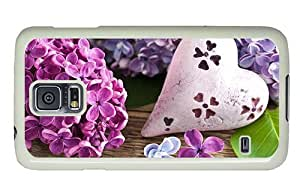 Hipster fashion Samsung Galaxy S5 Case heart lilac flowers PC White for Samsung S5 by lolosakes